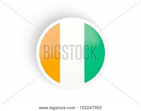 Round Sticker With Flag Of Cote D Ivoire