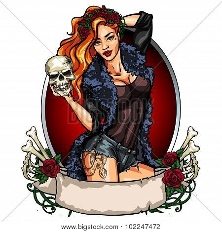 Pretty witch holding a skull.
