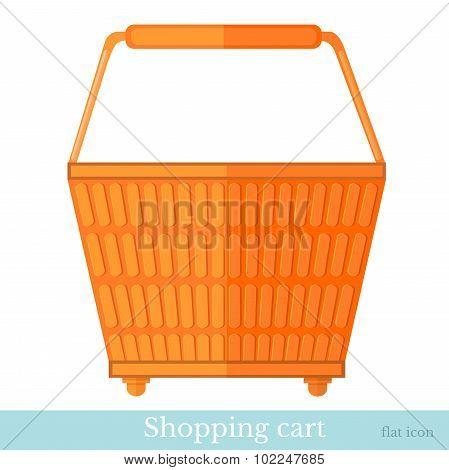 hand shoping orange basket back view flat style isolated on white