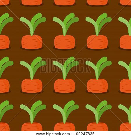 Carrot Seamless Pattern. Plantation Carrots Vector Background. Garden With Vegetables. Retro Fabric