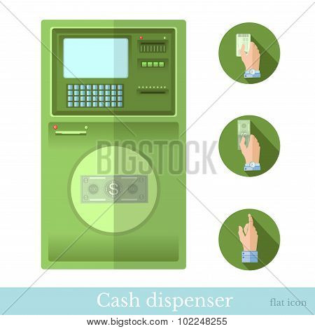 flat cash dispenser with circle hand pointer web icon