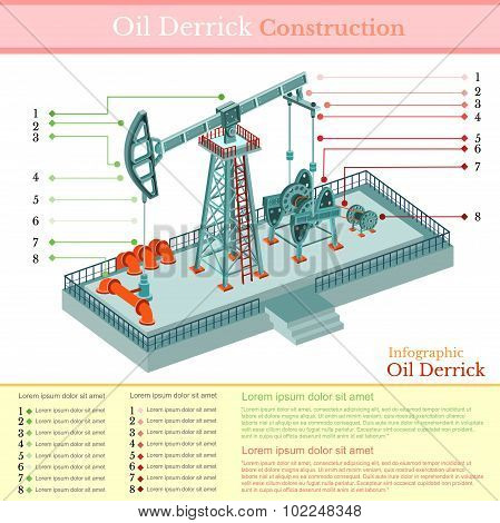 oil derrick tower or gas rig infographic on white
