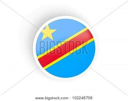 Round Sticker With Flag Of Democratic Republic Of The Congo