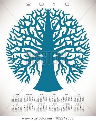 A 2016 round blue tree calendar