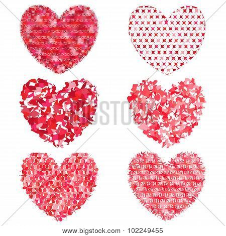 Set Of Hearts To Decorate And Design On A White Background. Simulation Of The Cut Pape