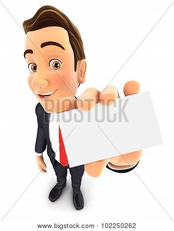 3d businessman holds business card