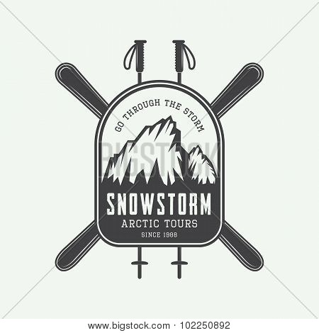 Vintage Mountaineering And Arctic Expeditions Logos, Badges, Emblems And Design Elements.
