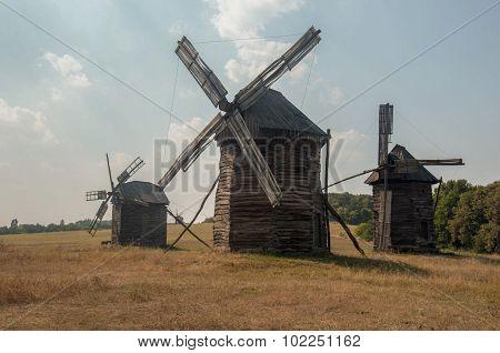 Antique Ramshackle Wooden Windmill, Pirogovo
