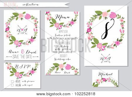 Vector illustration.Collection of wedding invitation templates w