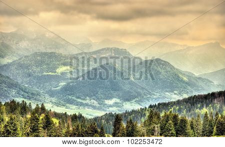 View Of French Alps With Mountains Julioz And Trelod