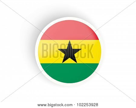 Round Sticker With Flag Of Ghana