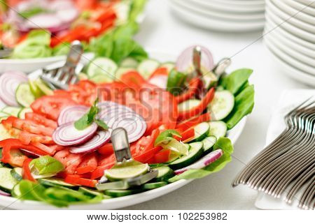 fresh vegetarian salad on the plate