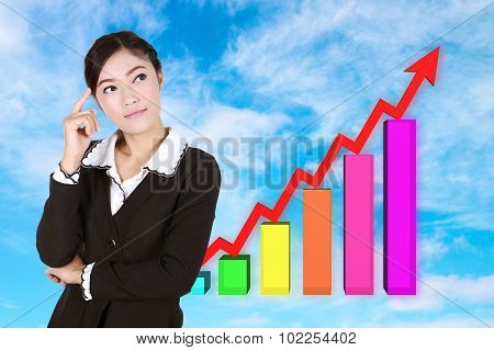 Business Woman Thinking With Business Graph