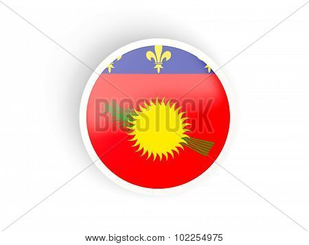 Round Sticker With Flag Of Guadeloupe