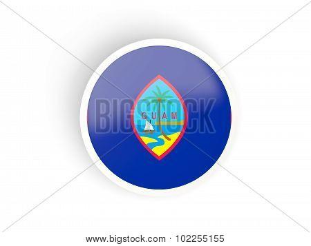 Round Sticker With Flag Of Guam