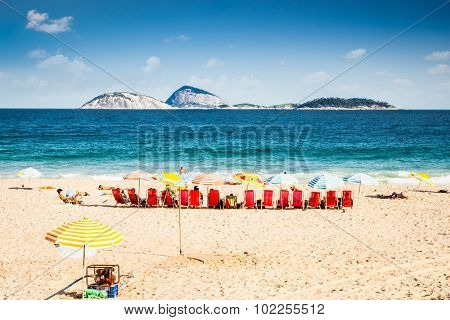 People enjoying  the beautiful Ipanema beach in Rio de Janeiro. Brazil.