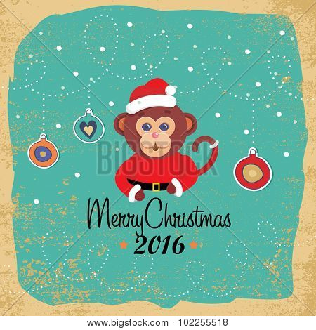 Christmas elements, cute cartoon monkey, vector illustrations for greeting cards