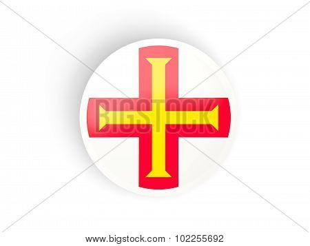 Round Sticker With Flag Of Guernsey