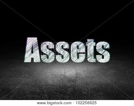 Money concept: Assets in grunge dark room