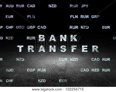 Money concept: Bank Transfer in grunge dark room