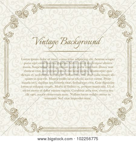Square vintage background with flourish frame on beige seamless pattern for invitation, certificate, diploma, etc