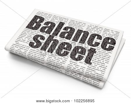 Currency concept: Balance Sheet on Newspaper background