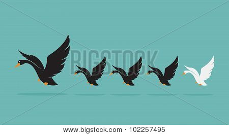 Vector Image Of A Herd Of Swan On Blue Background, Difference Concept