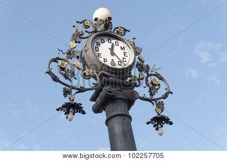 Clock Old Lamppost On The Street, Jerez De La Frontera, Spain