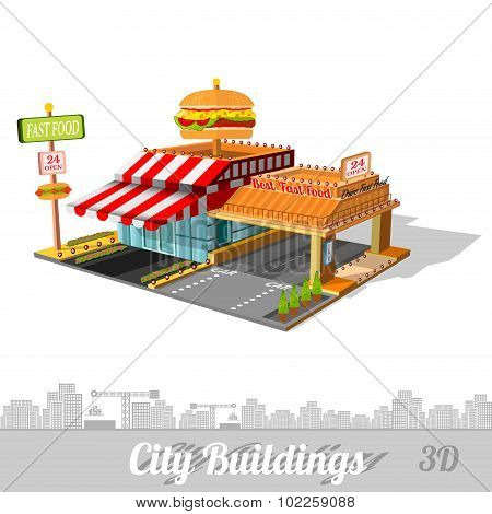 fast food building with hamburger on roof isolated on white