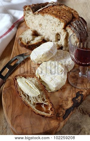 Goat Cheese, Country  Bread And Wineglass