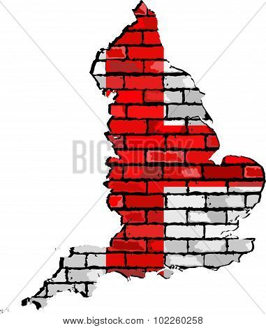 England Map On A Brick Wall