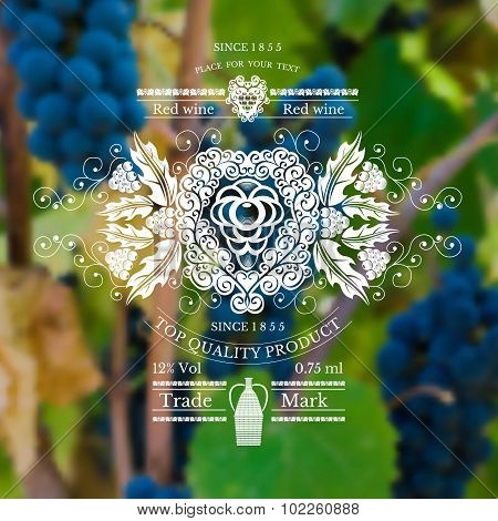 wine label with grapes pattern and vine on realistic background