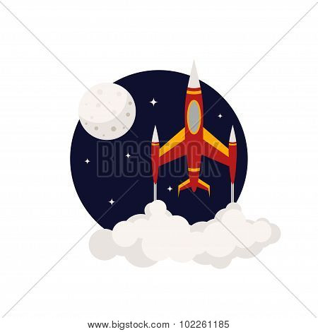 Icon In A Flat Style: Rocket Flying Into Space