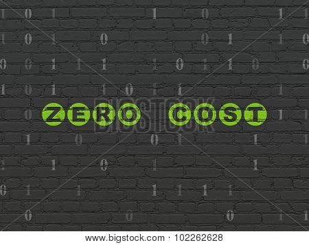 Business concept: Zero cost on wall background