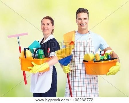 Domestic housekeeping service team. Home cleaning people.