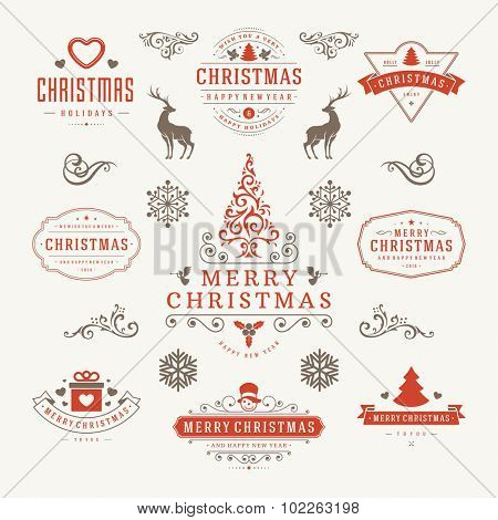Merry Christmas And Happy New Year Wishes Typographic Labels and Badges set, Vintage decorations, objects, symbols and elements, vector illustration