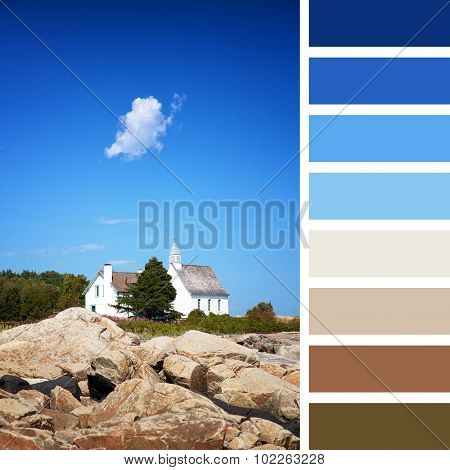 The Chapel of Port au Persil, Saint-Simeon, Quebec, Canada. In a colour palette with complimentary colour swatches.