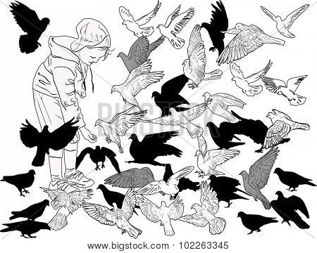 illustration with child and large group of doves isolated on white background