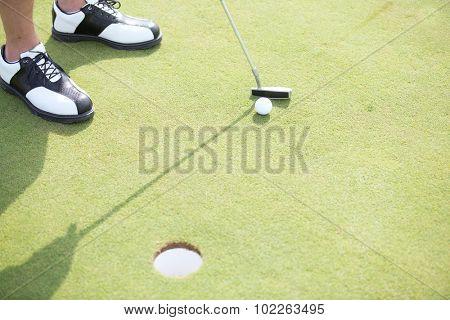 High angle view of man playing golf