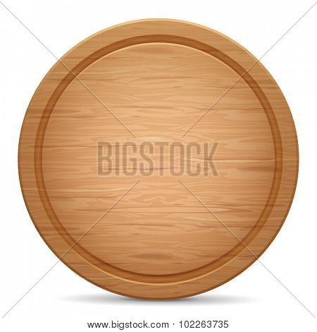 Realistic empty round wooden cutting board.  Vector illustration. Isolated on white background.