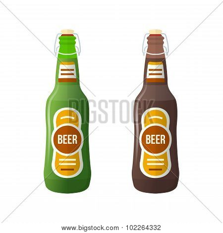 Colored Flat Couple Beer Bottles Lightning Stopper Illustration.