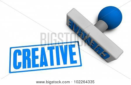 Creative Stamp or Chop on Paper Concept in 3d