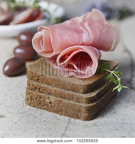 Appetizer,Rye Bread ,Cold Cuts and Olives