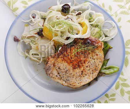 Pork Chops with Fennel Salad,top view