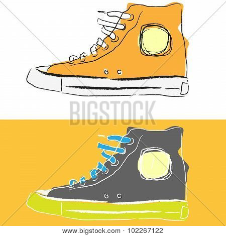 Stylized sketch sport shoes side view