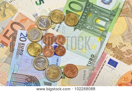 Cash euro coins and banknotes