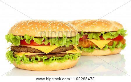 Two big hamburgers on white background