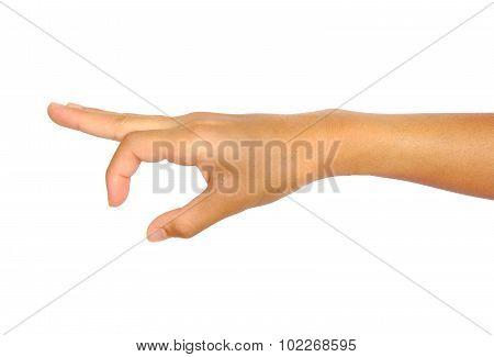 Hand pose like picking something isolated on white background