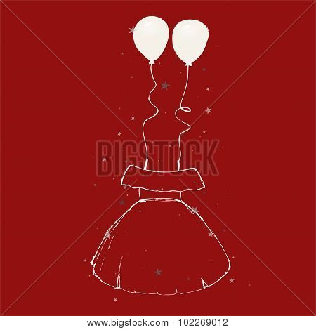 Sketch - long dress + balloons
