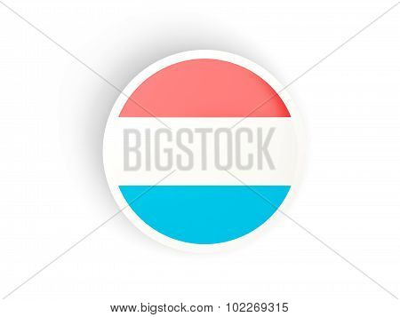 Round Sticker With Flag Of Luxembourg